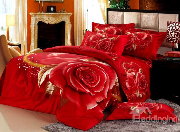 Fantastic Bright Red With Rose Print 4 Piece Bedding Sets