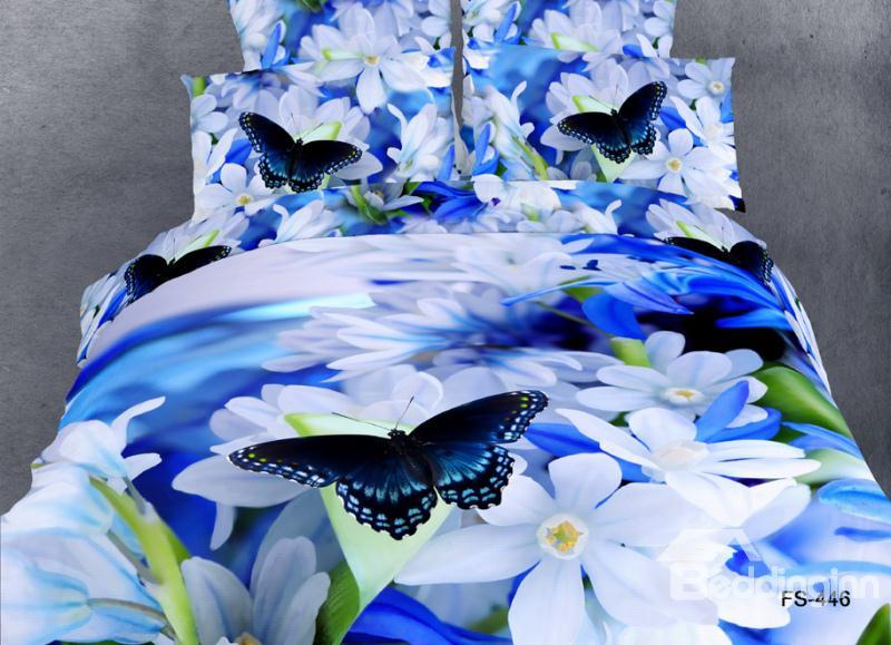 White Flower And Butterfly Print 4 Piece Bedding Sets/Duvet Cover Sets