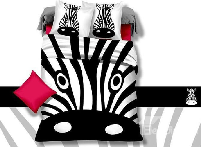 Funny Zebra Head Print 4-Piece Cotton Duvet Cover Sets