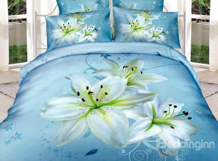 New Arrival High Quality 100%Cotton Light Blue Lily 4 Piece Bedding Sets/Duvet Cover Sets