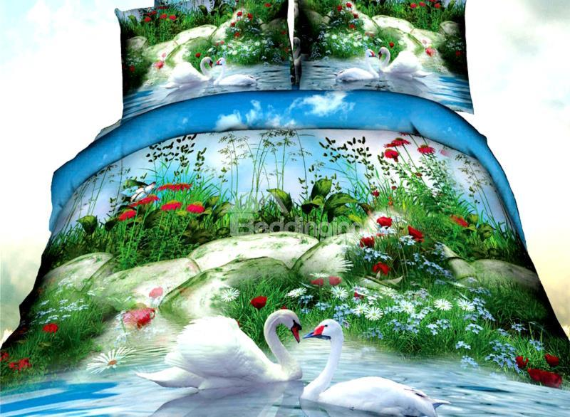 White Swan And Amazing Scenery Print 4-Piece Polyester Duvet Cover Sets