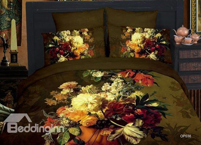 Antique Unique 3d Flower Reactive Print 4 Piece Bedding Sets 10525950)