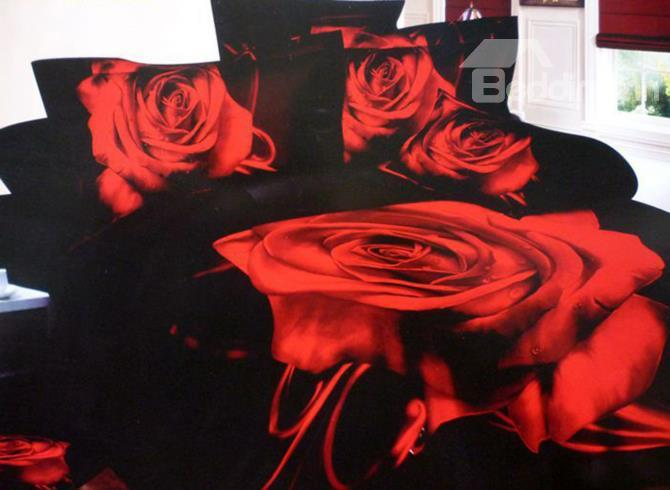Big Red Rose With Black Background 3d Duvet Cover Sets