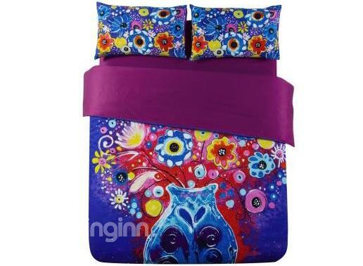 Flowers In Vase Oil Painting 4-Piece 100%Cotton Duvet Cover Sets