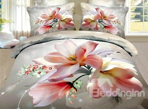 New Arrival 100%Cotton Elegant Flower 3d Printed 4 Piece Bedding Sets