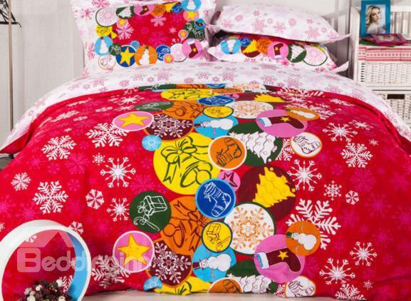 New Arrival High Quality Top Class 100%Cotton Happy Christmas Print 4 Piece Bedding Sets
