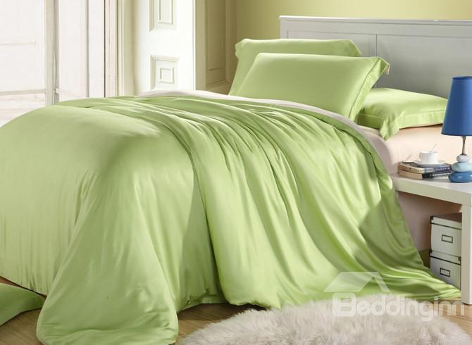 High Quality Simple Style Green Floral 4 Pieces Tencel Bedding Sets