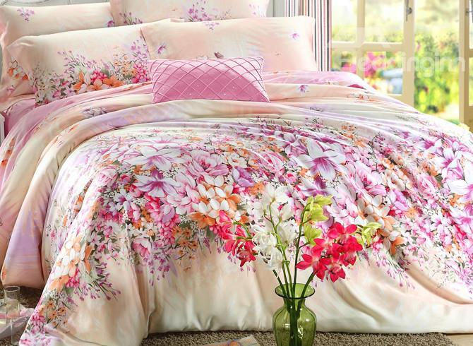 High Quality Amazing Red Flowers Print 4 Pieces Tencel Bedding Sets