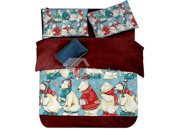 The Polar Bear Celebrating Christmas Print 4-Piece Coral Fleece Duvet Cover Sets