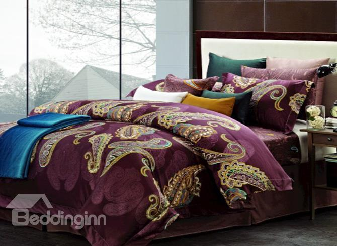 Royal Color Staple Cotton 4 Piece Duvet Cover Sets