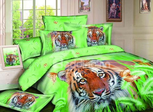 Hot Sell 3d Cute Tiger In Prairie 4 Pieces Bedding Sets