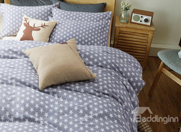 Surper Soft White Five-Pointed Star With Gray Ground Cotton 4-Piece Duvet Cover Sets