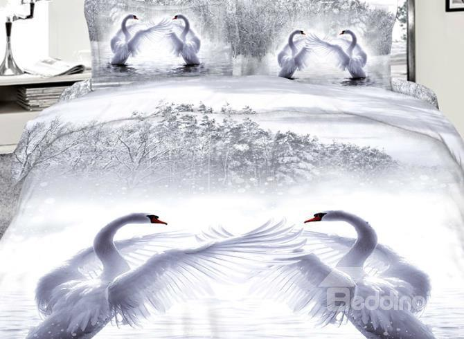 Beautiful Romantic White Swans Reactive Printing 3d Bedding Sets