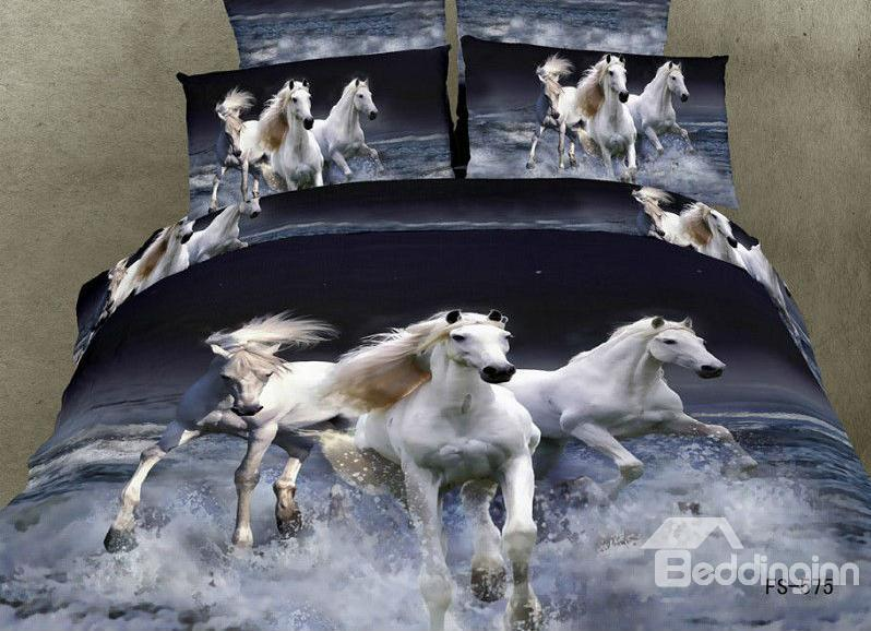 100%Cotton White Horse Gallop In Water Realistic 3d Print 4 Piece Bedding Sets 10529174)