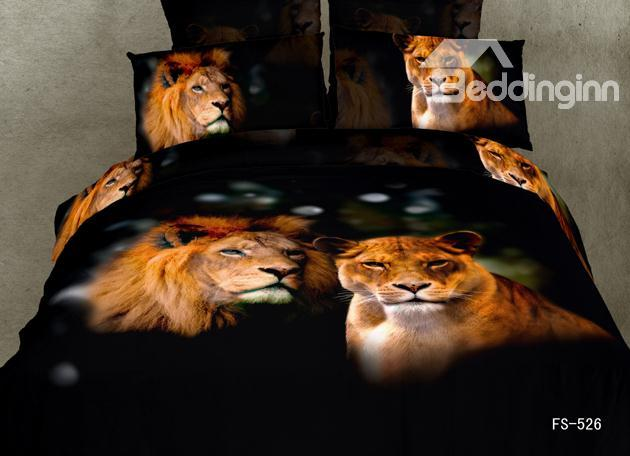 A Couple Of Lions Print Black Color 4 Piece Bedding Sets/Duvet Cover