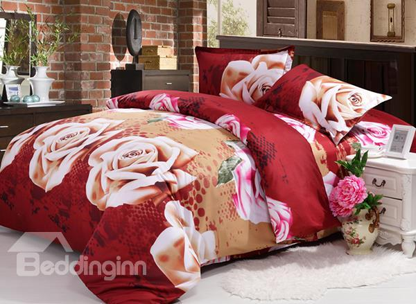 Wonderful Rose Print 4-Piece Polyester Duvet Cover Sets