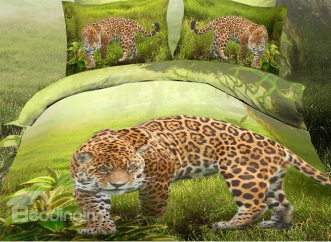 Golden Leopard On The Green Grass Print Polyester 3d Bedding Sets