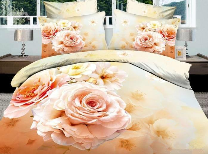 100%Cotton Gorgeous Flowers 4 Piece Bedding Sets/Duvet Cover Sets