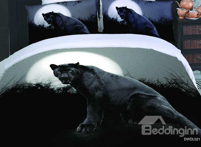 New Arrival Black Panther Print 4 Piece Duvet Cover Bedding Sets