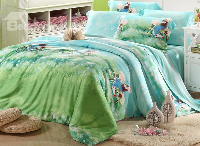 High Quality Pretty Girl Riding A Bike 4 Pieces Tencel Bedding Sets