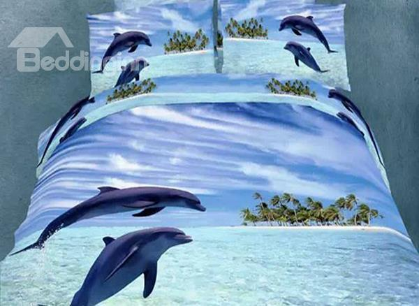 Clear Sea And Dolphin Print 4-Piece Cotton Duvet Cover Sets