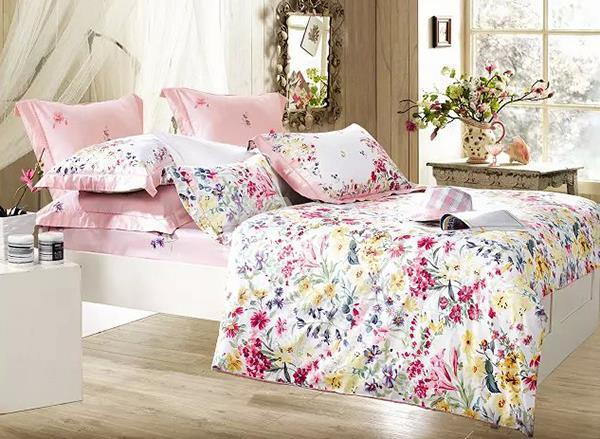 Rural Yellow And Pink Flower Print 4-Piece 100%Cotton Duvet Cover Sets