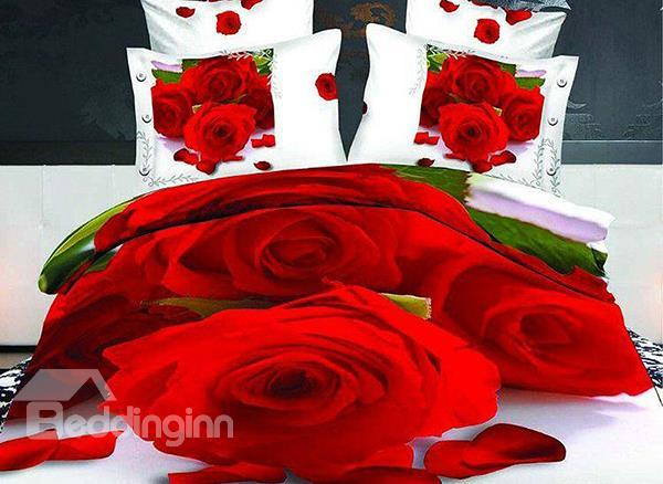 Romantic Red Roses Print 4-Piece Cotton Duvet Cover Sets