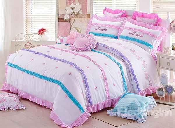 New Arrival Korean Style Flower Dotted Lace Trimmed Duvet Cover Sets