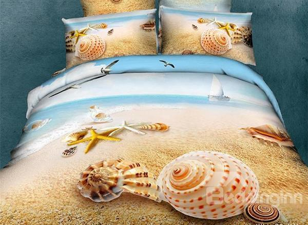 Unique Starfishshell On Beach Print 4 Piece Bedding Sets/Duvet Cover Sets