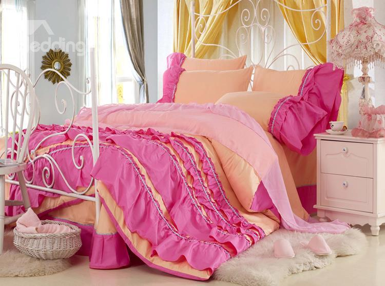 New Arrival Lovely Yellow Color Rose Chiffon Floral Borders Bed-Skirt 4 Piece Bedding Sets
