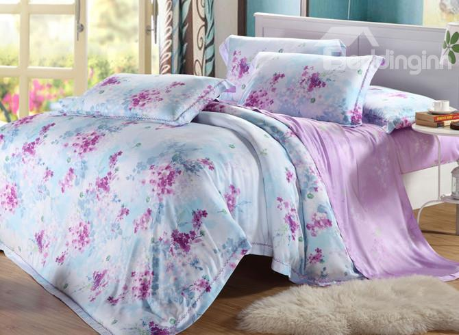 High Quality Comfortable Fabulous Floral Patterns 4 Pieces Tencel Bedding Sets
