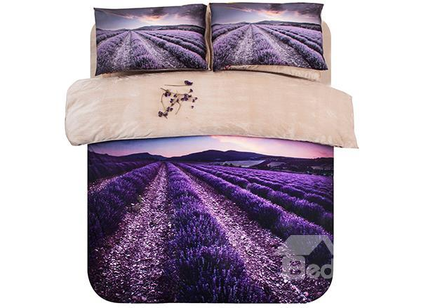Lavender Field Print 4-Piece Coral Fleece Duvet Cover Sets