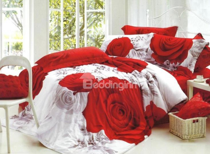 Fragrant Red Rose Print 4-Piece Cotton 3d Duvet Cover Sets