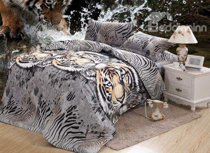Wild Tiger Print 4 Piece Polyester Bedding Sets/Duvet Cover Sets