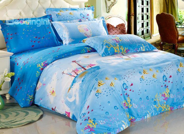 Pretty Journal Style 100%Cotton Blue 4 Piece Bedding Sets