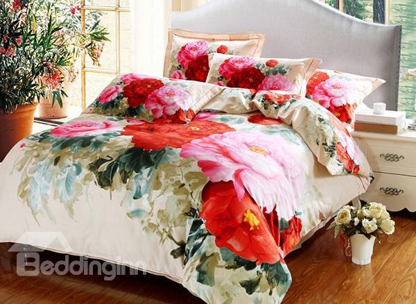 Bright Pink Blooming Flower Oil Painting 4-Piece Natural Cotton Duvet Cover Sets