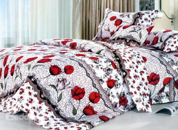 Red Rose And Leopard Pattern 4-Piece Cotton Duvet Cover Sets