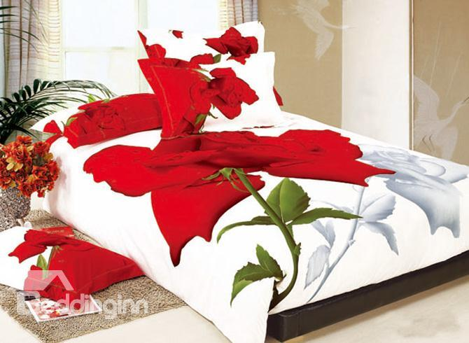 Gorgeous White And Red Rose Printing Cotton 4 Piece Bedding Sets 10489270)