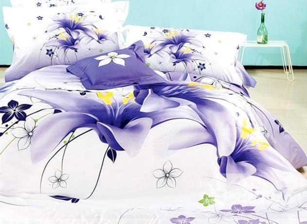 Comfortable Blue Tulip Print 4-Piece Cotton Duvet Cover Sets