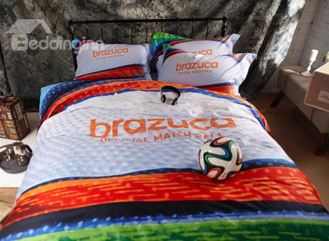 Football Print Colorful Stripe 4-Piece 3d Duvet Cover Sets