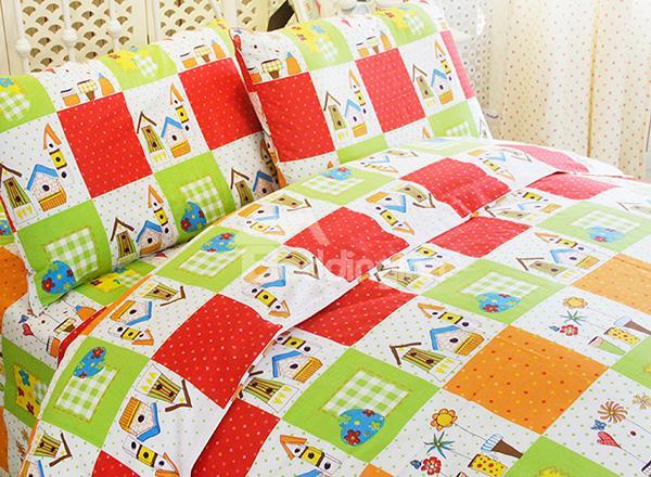Warm House And Flower Print 3-Piece Cotton Kids Duvet Cover Sets