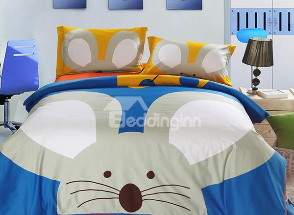 Super Cute Mouse Print 3-Piece Combed Cotton Kids Duvet Cover Sets