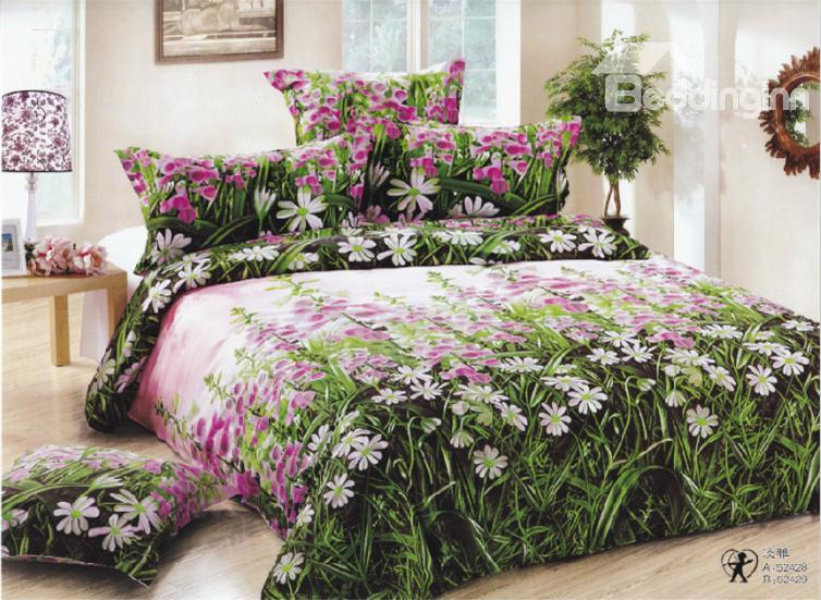 New Arrival 100%Cotton Little Pink Flower Print 3d Bedding Sets/Duvet Cover Sets