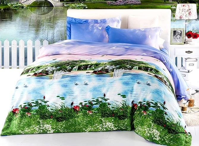 Beautiful Seaside Towns Print 4-Piece 3d Cotton Duvet Cover Sets