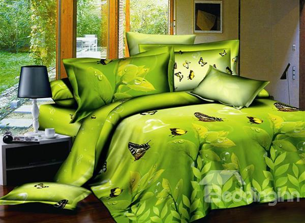 Fresh Green Leaves And Butterflies Print 4-Piece Cotton Duvet Cover Sets