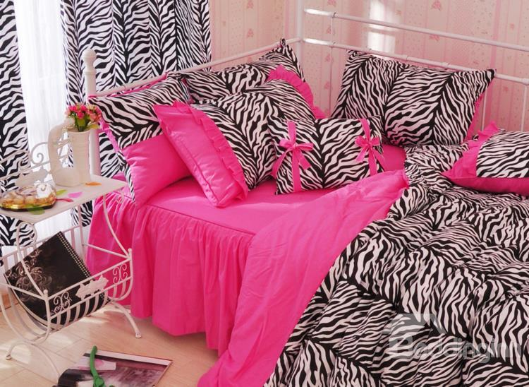 Charming Pink Zebra Pattern4-Piece Cotton Duvet Cover Sets