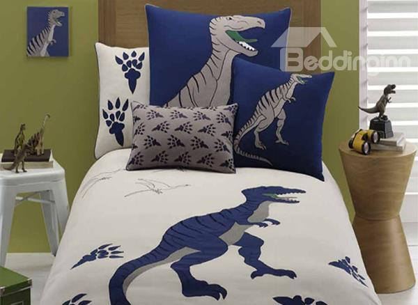 Dinosaur Embroiderys 3-Piece Cotton Duvet Cover Sets