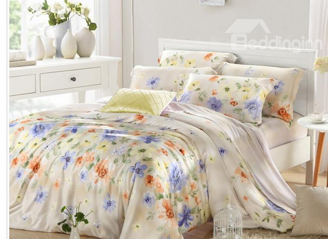 High Quality Simple Style Luxurious Floral 4 Pieces Tencel Bedding Sets
