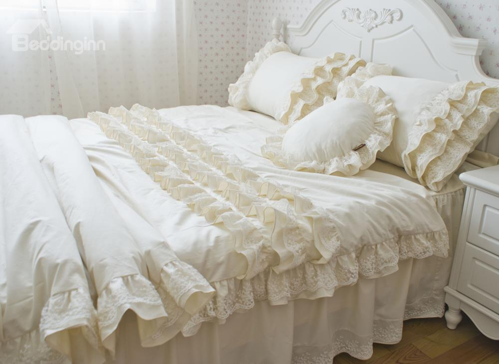 Korean Style Pure White Super Soft Flouncing Embroidery Duvet Cover Sets