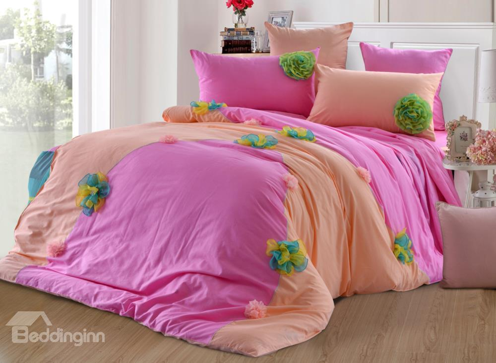 New Arrival Sweet Pink Color Flower Applique Design Bed-Skirt 6 Piece Bedding Sets